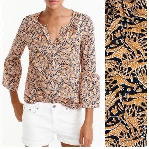 J. Crew giraffe printed blouse